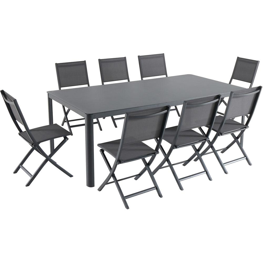 Hanover Fresno 9 Piece Aluminum Outdoor Dining Set With 8 Folding