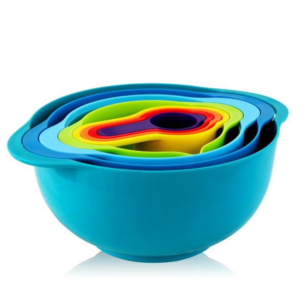 8-Piece Plastic Assorted Colors Mixing Bowl Set with Measuring Cups