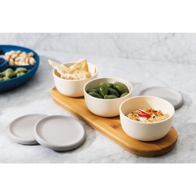 Leo 6-Piece Bamboo Covered Bowl Set with Tray