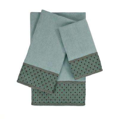 Mason Light Blue Embellished Towel Set (3-Piece)