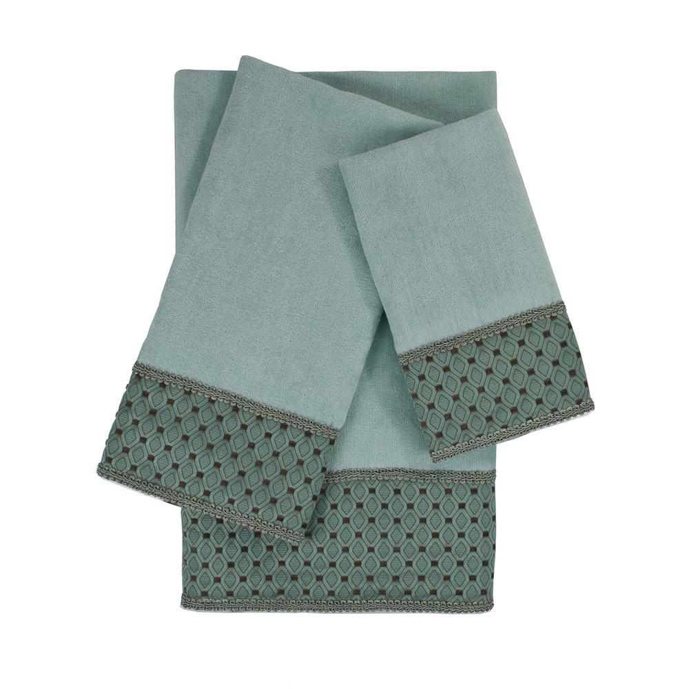 Sherry Kline Mason Light Blue Embellished Towel Set (3-Piece)