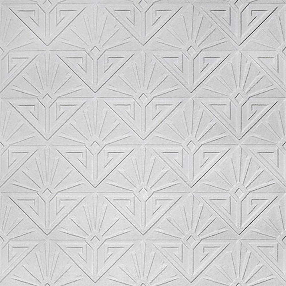 Deco Paradiso Paintable Luxury Vinyl White & Off-White Wallpaper Sample