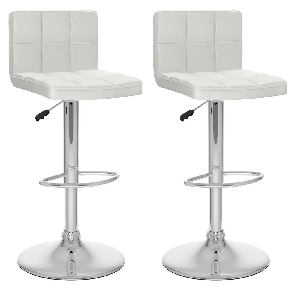 Adjustable White Leatherette High Back Bar Stool (Set of 2)