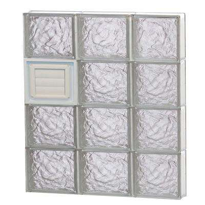 23.25 in. x 31 in. x 3.125 in. Ice Pattern Glass Block Window with Dryer Vent