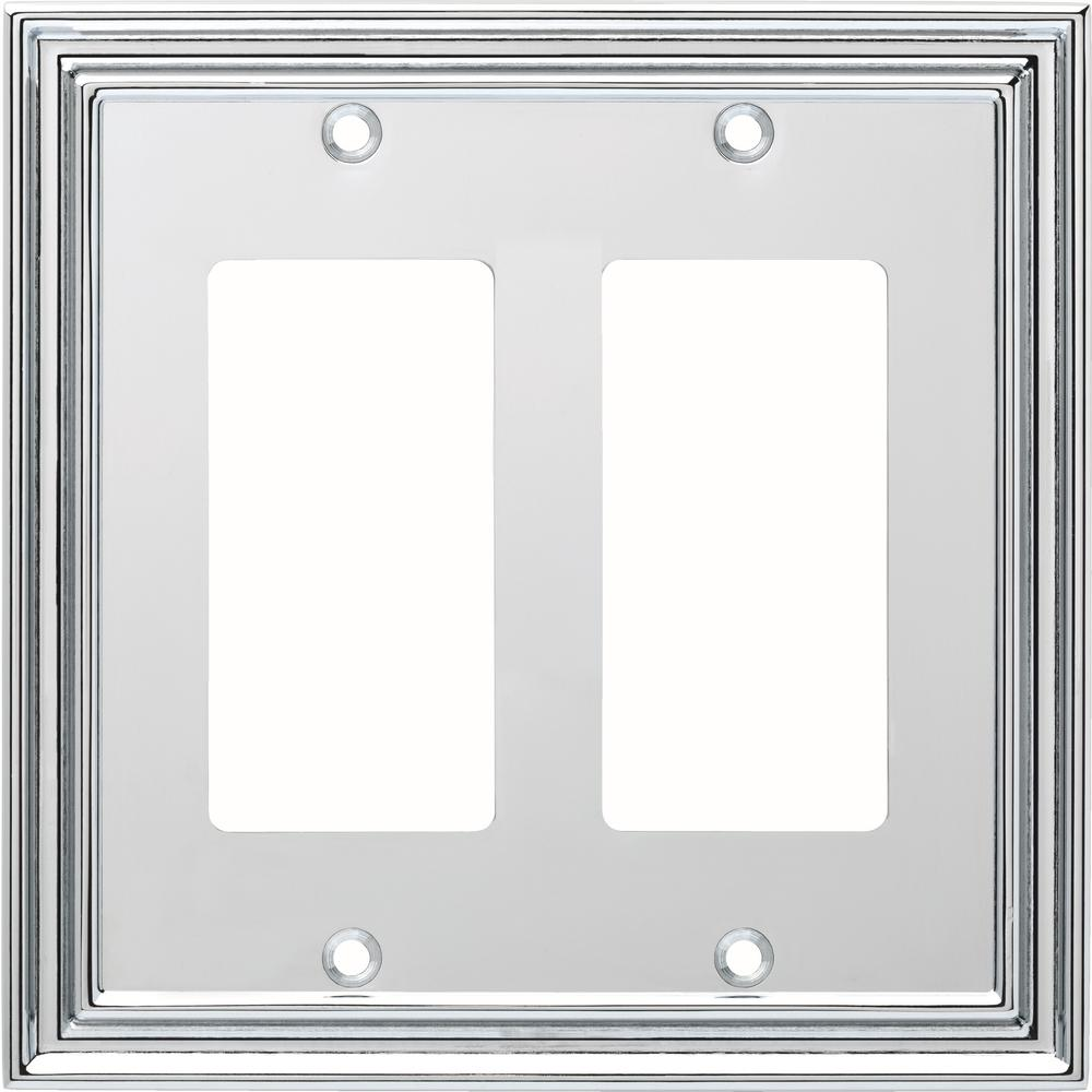 Liberty Silverton Decorative Double Rocker Switch Cover, Polished Chrome