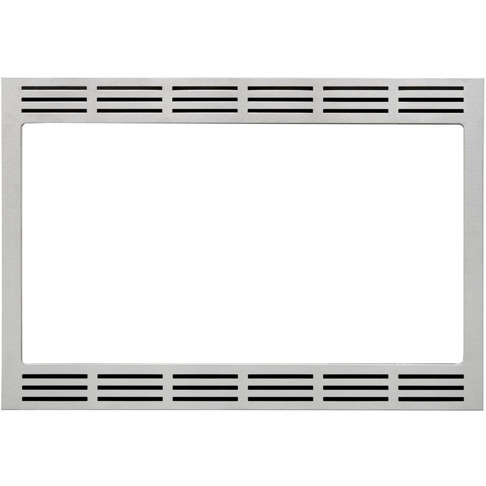Panasonic 27 in. Wide Trim Kit for 's 2.2 cu. ft. Microwave Ovens in Stainless Steel, Silver Panasonic's NN-TK722SS 27 in. Wide Trim Kit, in stainless steel, is designed for select Panasonic 1.6 cu. ft. microwave ovens. This built-in trim kit allows you to neatly and securely position select Panasonic microwave ovens into a cabinet or wall space in your kitchen. Kit includes all the necessary assembly pieces and hardware to give your Panasonic microwave oven a custom-finished look.