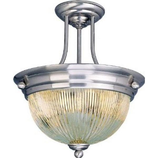 2-Light Brushed Nickel Interior Semi Flush Mount