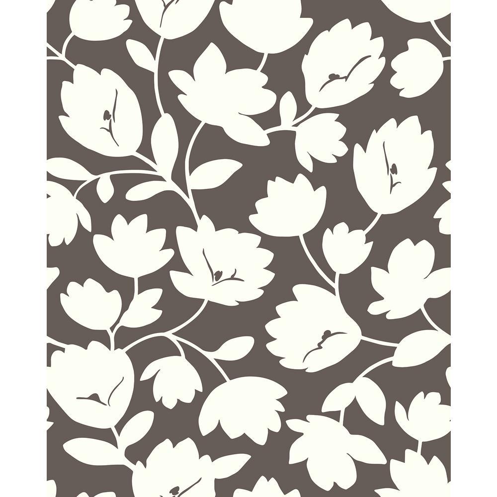 8 in. x 10 in. Matilda Chocolate Floral Wallpaper Sample