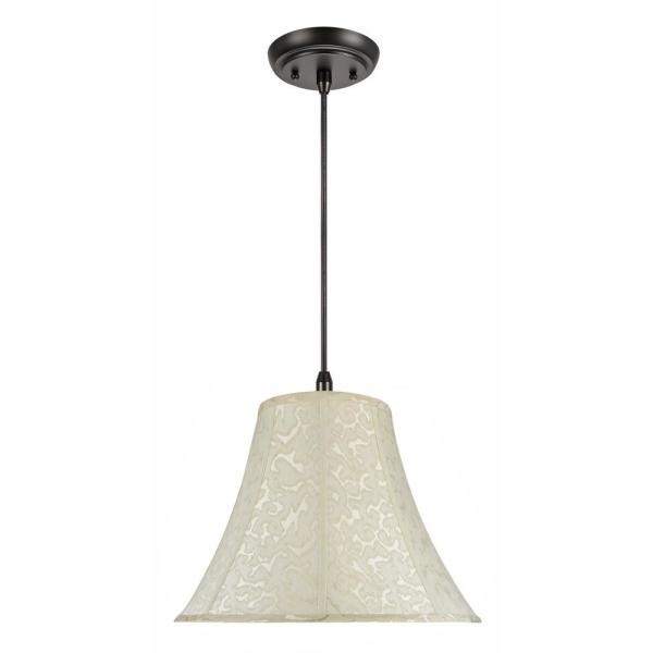 2-Light Oil Rubbed Bronze Pendant with Off White Bell Fabric Shade