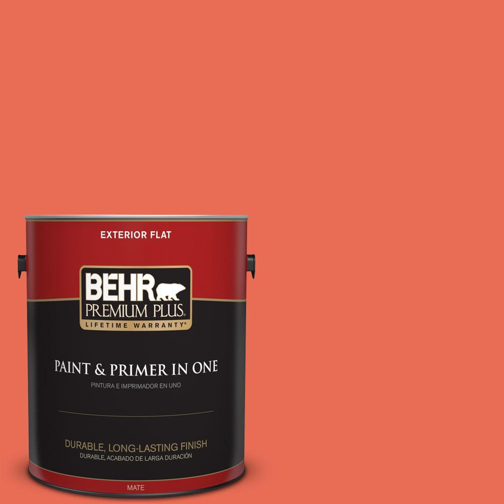 BEHR Premium Plus 1-gal. #190B-6 Wet Coral Flat Exterior Paint