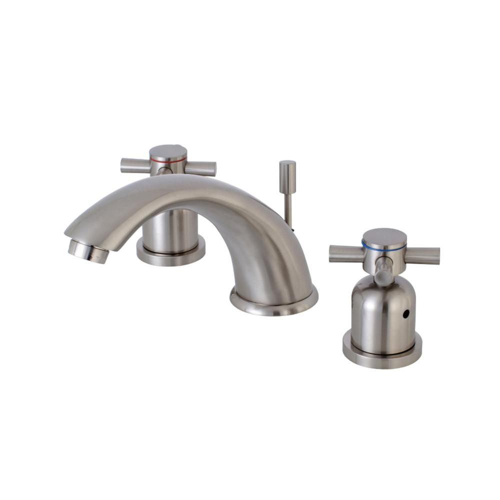 Kingston Brass Modern Cross 8 In. Widespread 2-Handle Bathroom Faucet In Brushed Nickel