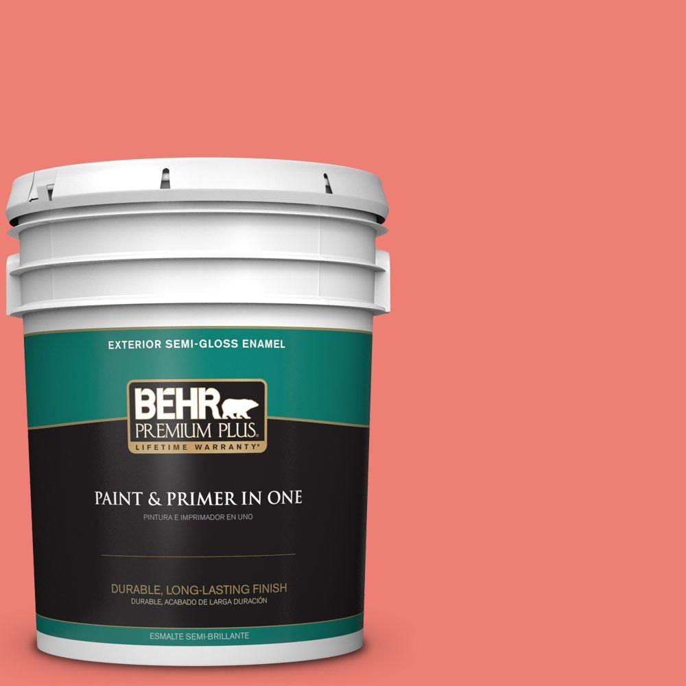 5-gal. #170B-5 Youthful Coral Semi-Gloss Enamel Exterior Paint