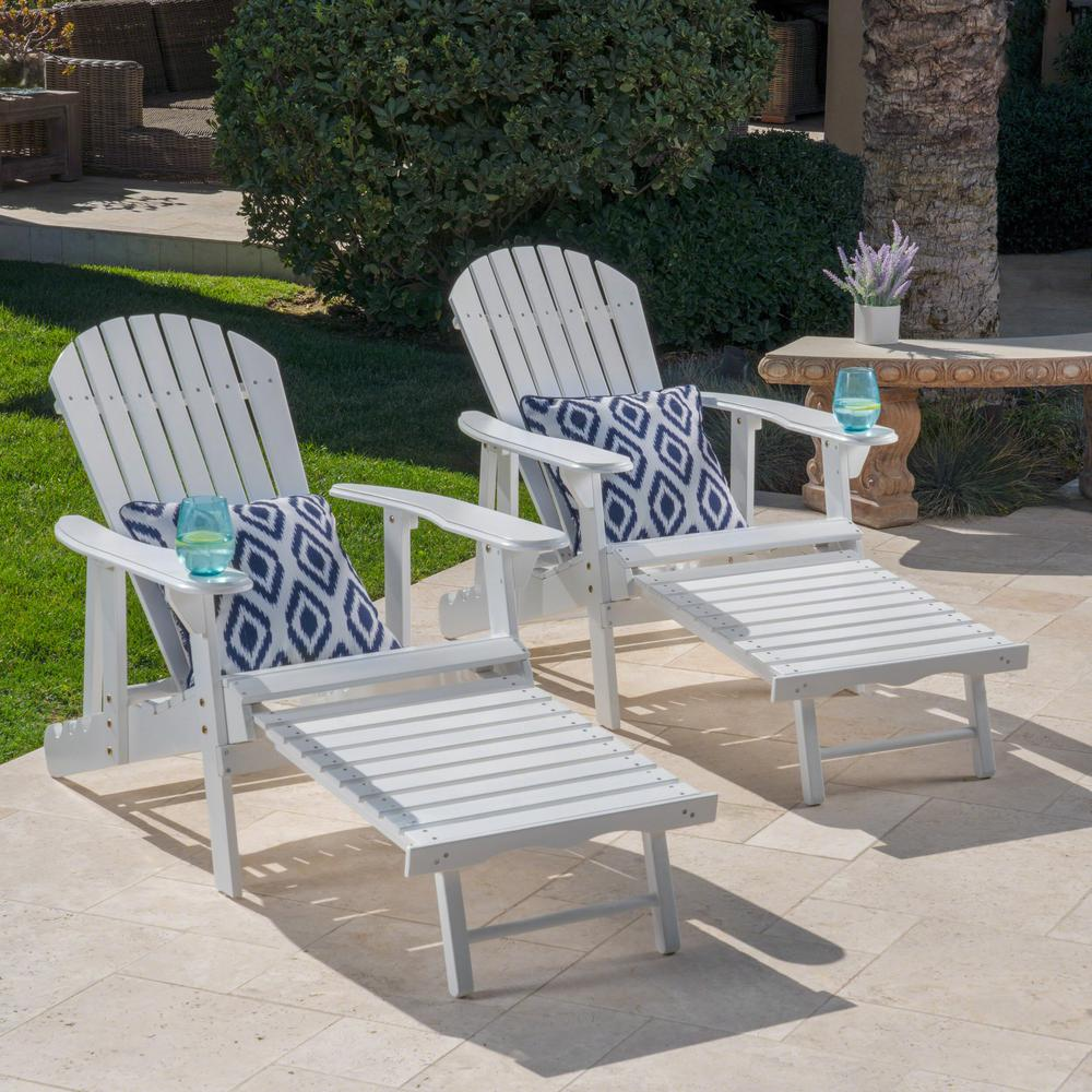 Amazing Noble House Oakley White Reclining Wood Adirondack Chair With Footrest 2 Pack Squirreltailoven Fun Painted Chair Ideas Images Squirreltailovenorg
