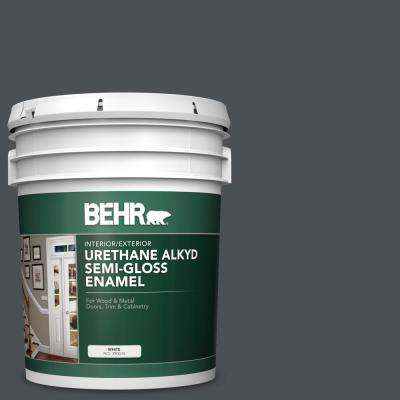5 gal. #PPU18-01 Cracked Pepper Urethane Alkyd Semi-Gloss Enamel Interior/Exterior Paint