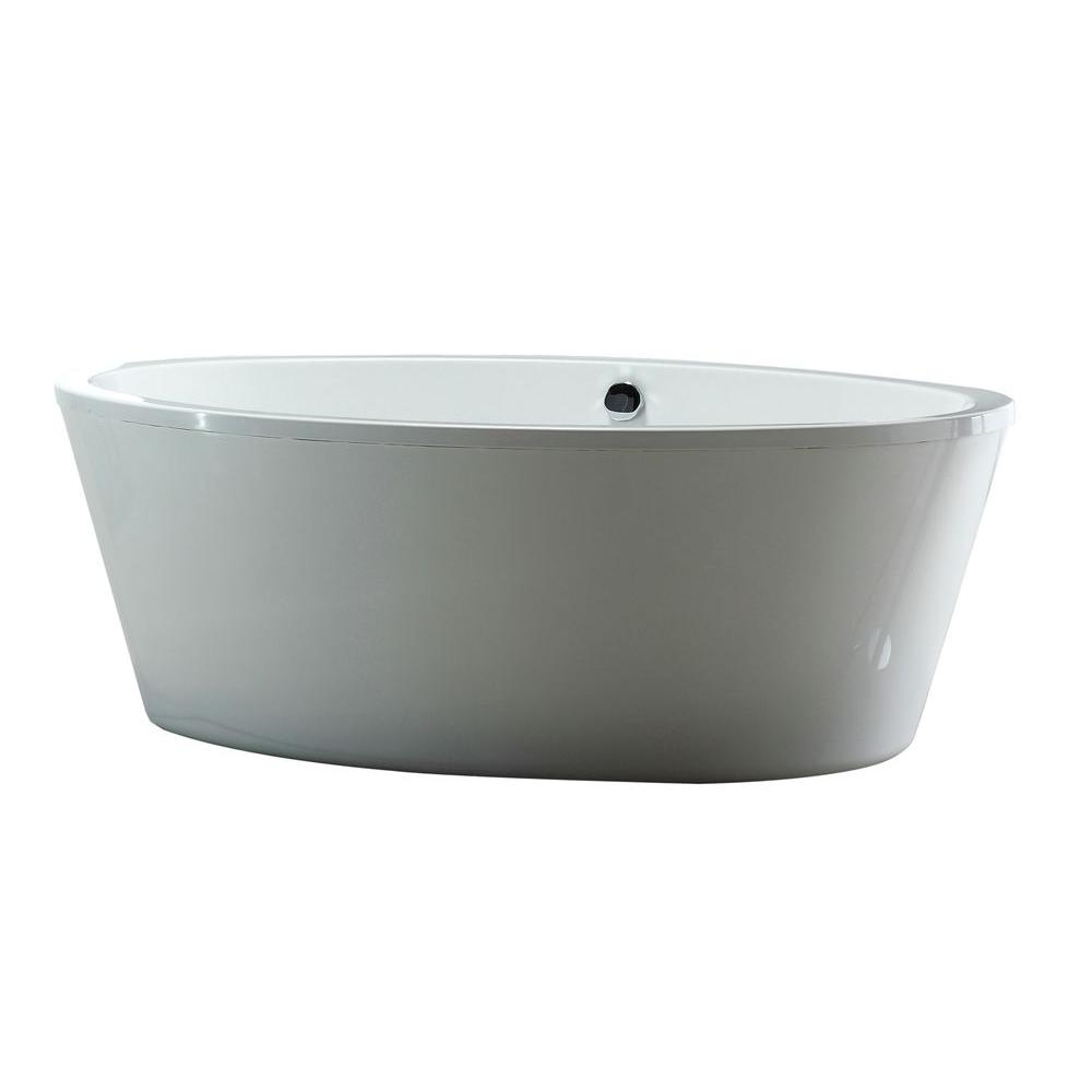 OVE Decors 5.6 Ft. Acrylic Freestanding Flatbottom Non Whirlpool Bathtub In  White