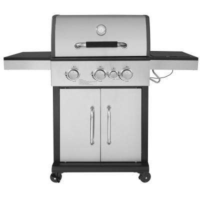 Deluxe 3-Burner Patio Propane Gas Grill with Side Burner