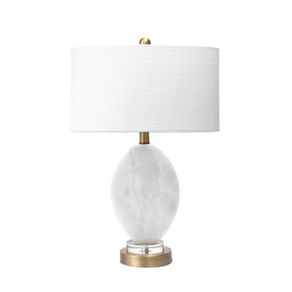 Fulton Marble Traditional Light Gray Table Lamp with Shade, 22 inch