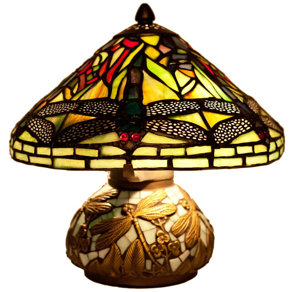 Marvelous Green Table Lamp With Stained Glass Shade And Mosaic Base