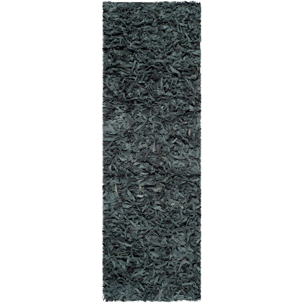 Leather Shag Grey 2 ft. 3 in. x 9 ft. Rug