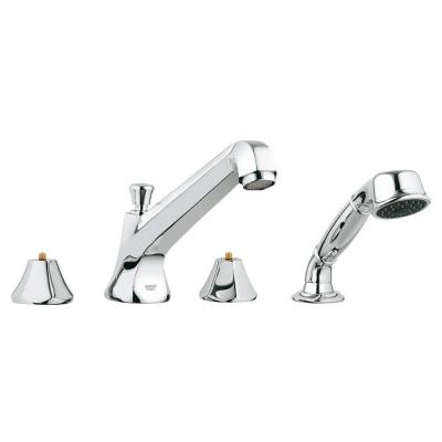 Somerset 2-Handle Widespread Roman Tub Filler with Hand Shower in StarLight Chrome
