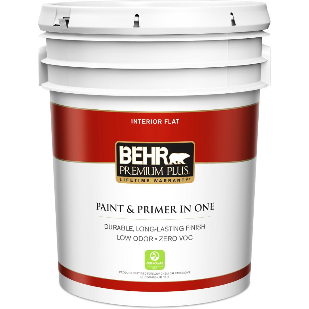 behr premium plus 5 gal ultra pure white flat zero voc interior paint and primer in one 105005 the home depot