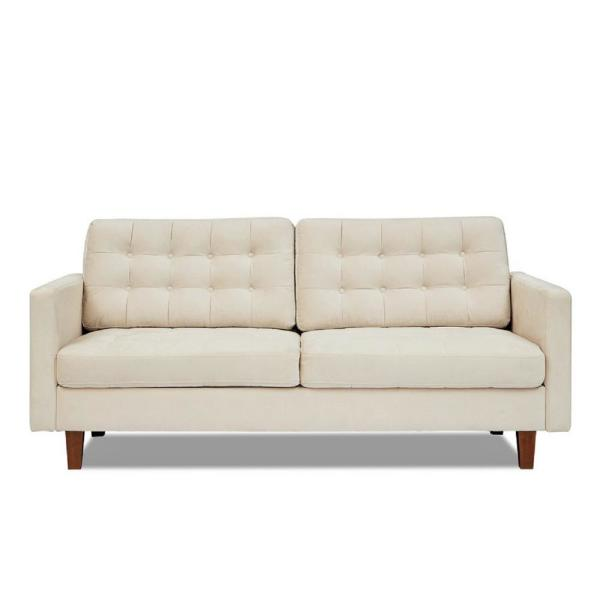 Sophia 74.5 in. Ivory Velvet 3-Seater Lawson Sofa with Removable Cushions