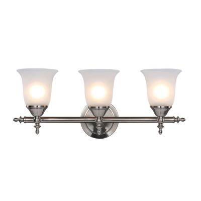 Olgelthorpe 3-Light Brushed Nickel Bathroom Vanity Light with Bell Shaped Frosted Glass Shades