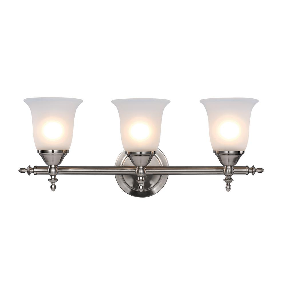 Hampton Bay Traditional 3 Light Brushed Nickel Vanity Light With Bell Shaped Frosted Glass