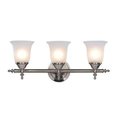 Traditional 3-Light Brushed Nickel Vanity Light with Bell Shaped Frosted Glass Shades