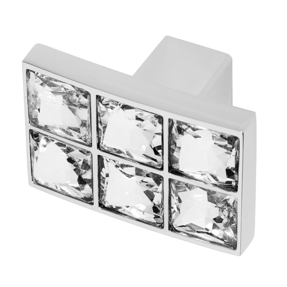 Karlovy 31/32 x 1-3/8 in. Chrome with Clear Crystal Cabinet Knob