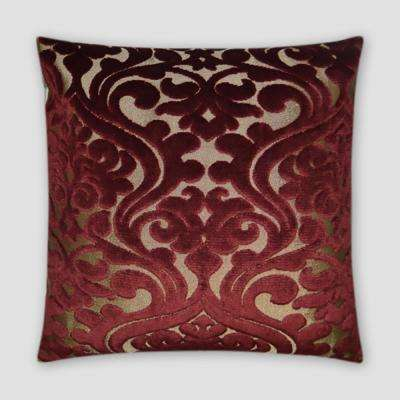 Damascus Wine Feather Down 20 in. x 20 in. Standard Decorative Throw Pillow