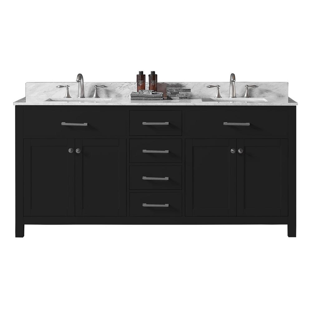 Colette 72 in w x 22 in d x 34 2 in h bath vanity in espresso w carrara marble vanity top in white w white basin