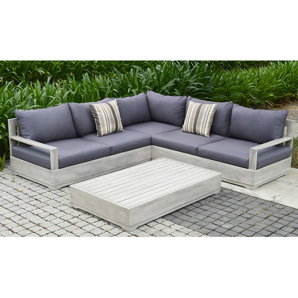 Beranda 3 piece eucalyptus wood outdoor sectional set with for Sofa outdoor