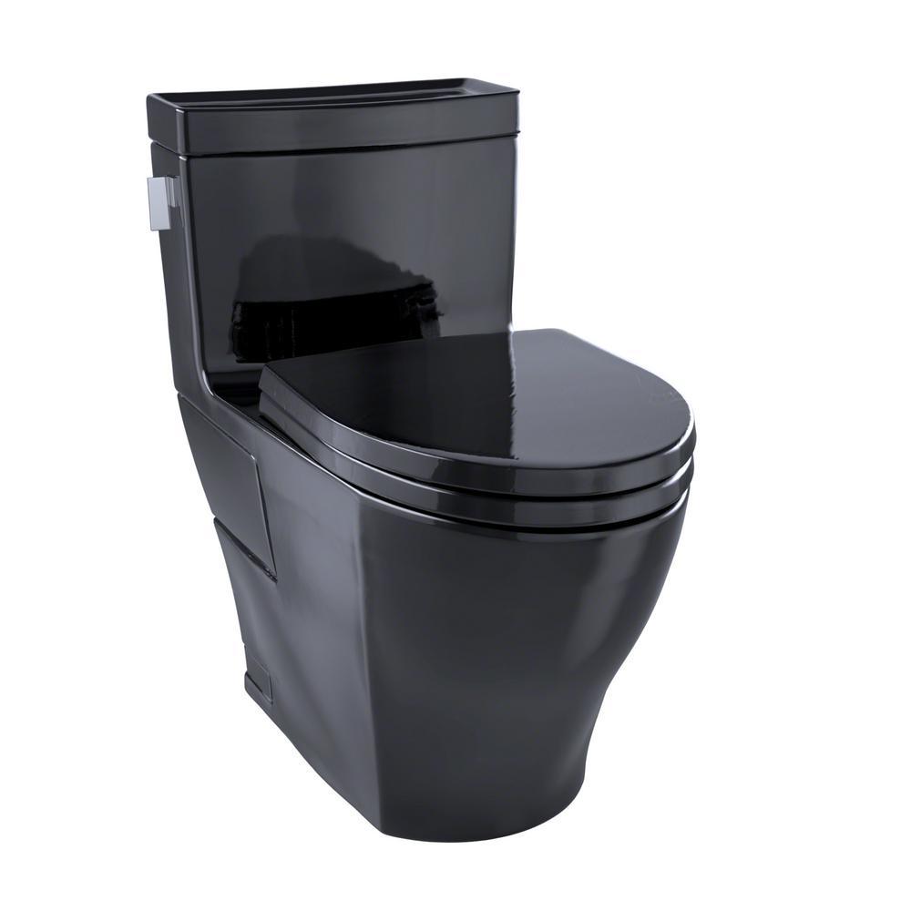 Aimes 1-Piece 1.28 GPF Single Flush Elongated Skirted Toilet in Ebony
