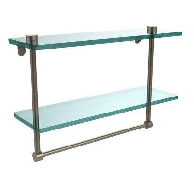 16 in. L  x 12 in. H  x 5 in. W 2-Tier Clear Glass Vanity Bathroom Shelf with Towel Bar in Antique Pewter