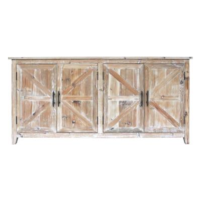 Whitewashed Wood Brown Cabinet with 4-Doors
