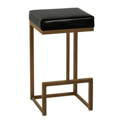 Fortuna 26 in. Cantina Black Backless Barstool