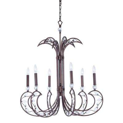 Autumn 31 in. W 6-Light Russet Chandelier with Clear Shade