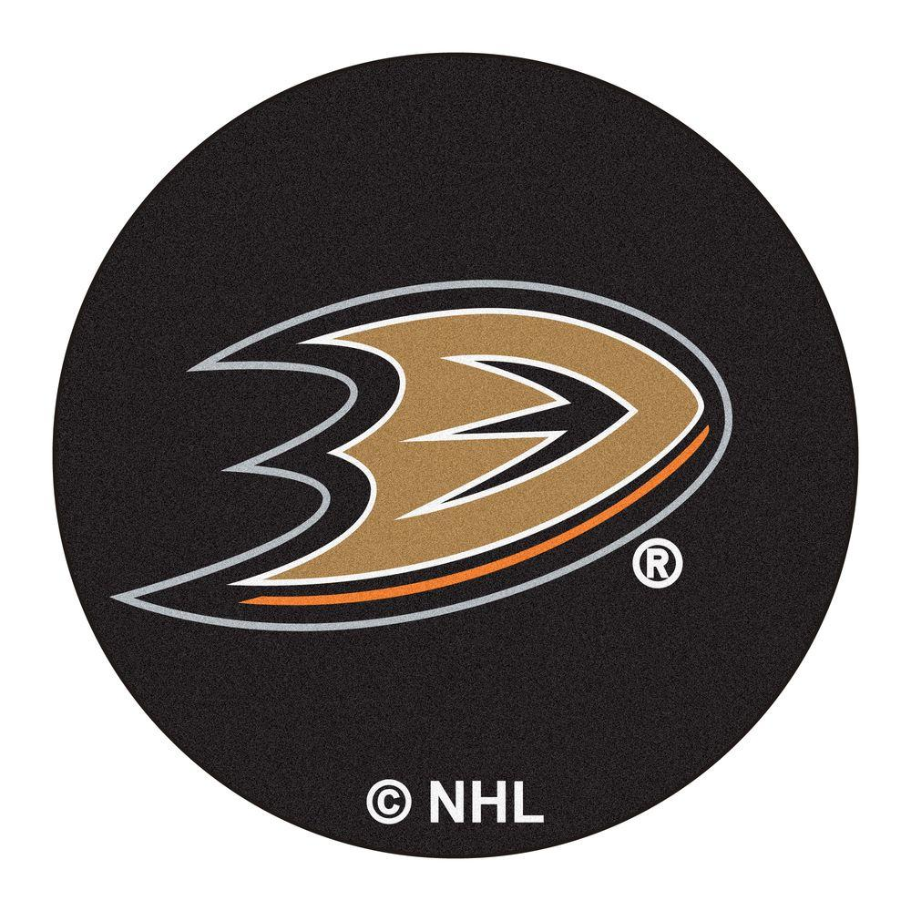 Fanmats Anaheim Ducks Black 2 Ft X 2 Ft Round Area Rug 10627 The