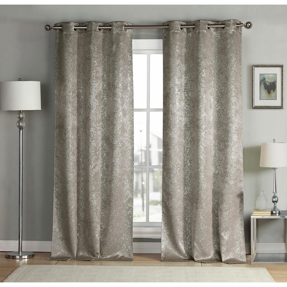 Kensie Maddie 38 in. W x 84 in. L Polyester Window Panel in Mouse