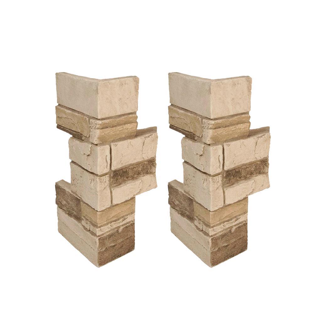 Ledgestone 11 in. x 11 in. x 24 in. Desert Tan Faux Stone Keyed Corner (2-Pack)