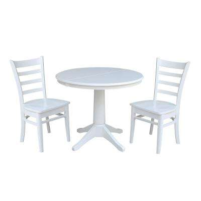Olivia 3-Piece White Oval Dining Set with Emily Chairs