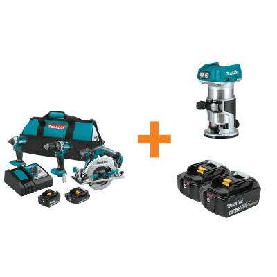 18-Volt LXT Lithium-Ion Brushless Cordless Combo Kit (3-Tool) with Bonus Compact Router and 2 Batteries 5.0Ah
