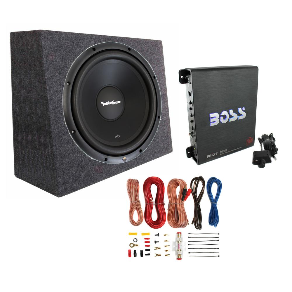 Rockford Fosgate 12 in. 300-Watt Subwoofer and Sealed Box and Mono Amp and Wiring Kit