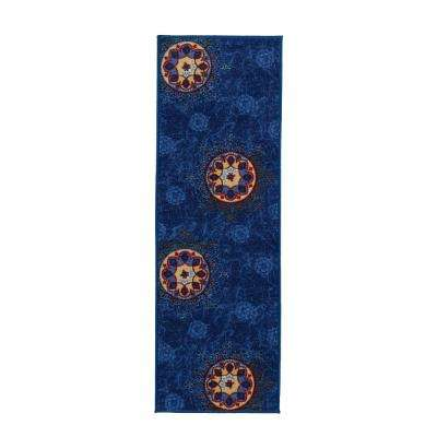 Studio Collection Medallion Design Blue 2 ft. x 5 ft. Non-Skid Runner Rug
