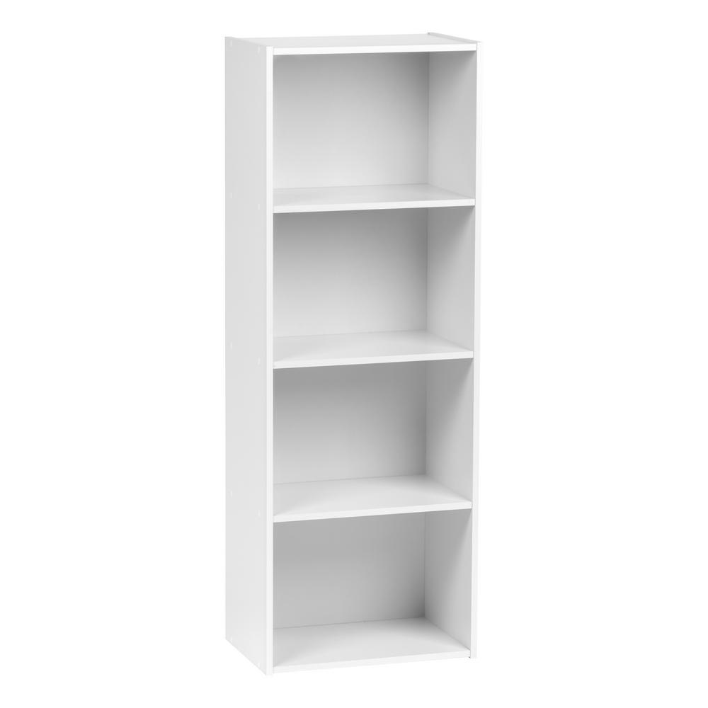 4-Tier White Wood Storage Shelf