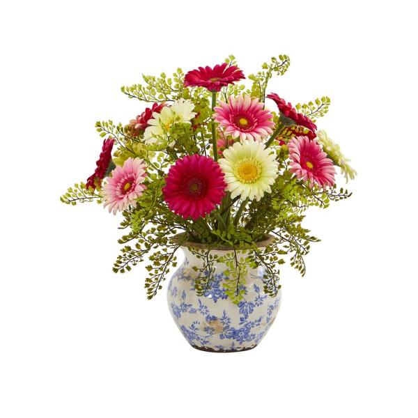 Nearly Natural 17 in. Gerber Daisy and Maiden Hair Artificial Arrangement