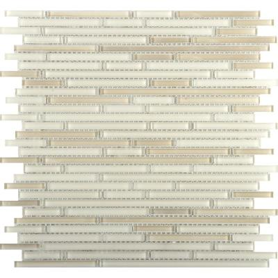Infinity Beige Glossy 11.73 in. x 11.73 in. x 4mm Glass Mesh-Mounted Mosaic Tile (0.96 sq. ft.)