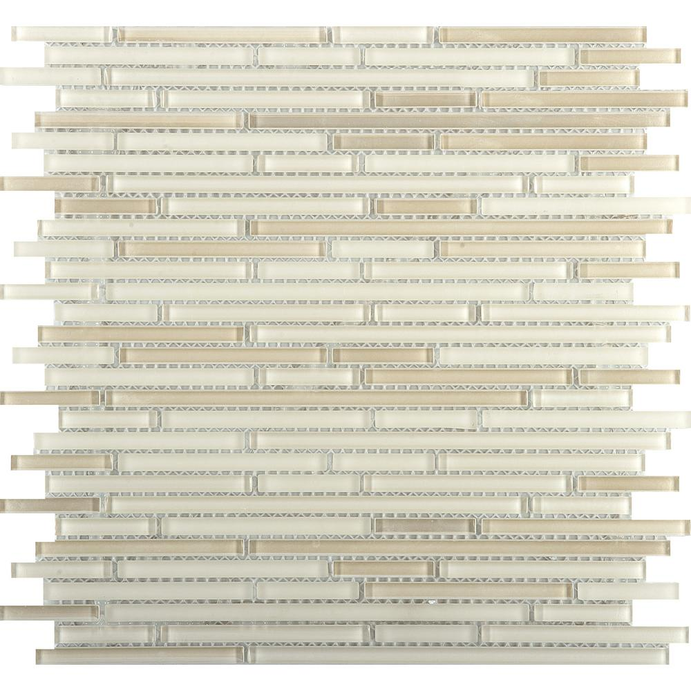 Emser Infinity Beige Glossy 11.73 in. x 11.73 in. x 4mm Glass Mesh-Mounted Mosaic Tile