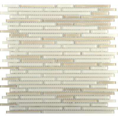 Infinity Beige Glossy 11.73 in. x 11.73 in. x 4mm Glass Mesh-Mounted Mosaic Tile